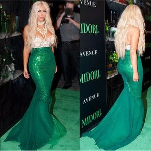 Sparkly sequins green mermaid long skirt fishtail